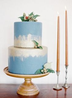 blue and gold wedding cake idea; Jen Huang Photo  via 100 Layer Cake