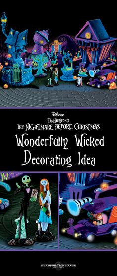 Relive Disney Tim Burton's The Nightmare Before Christmas when you decorate with this black light village.