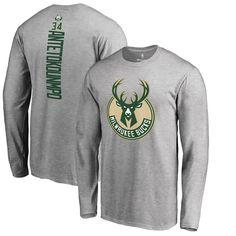 fbc95cc2b53 Giannis Antetokounmpo Milwaukee Bucks Fanatics Branded Team Backer Name    Number Long Sleeve T-Shirt – Heathered Gray