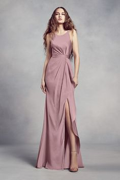 Charmeuse and chiffon come together on this White by Vera Wang bridesmaid dress, creating a sophisticated silhouette with a flattering halter neckline, waistline gathering, and a ruffled skirt slit. Vera Wang Bridesmaid Dresses, Brides Maid Gown, Blush Gown, White By Vera Wang, Vera Wang Dress, Trendy Dresses, Beautiful Dresses, Marie, Evening Dresses