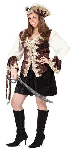 Pirate Lady Plus Size Costume - Wear this for Halloween, a costume party, and with other pirates. This is a plus size Royal Lady Pirate Costume. This is a two-piece costume with a dress and hat. The dress has a v-neck with ruffle trim. The dress opens up from the back of the neck and fastens close with Velcro. The sleeves are elasticized at the cuffs and flare out. #calgary #yyc #costume #pirate #gypsy #sexy #plussize