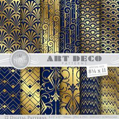 ART DECO Digital Paper: Navy Blue & Gold Art Deco by MNINEdesigns  *Great for use on greeting cards, invitations, printable projects, party packs. paper craft, party invites, digital scrapbooking, backgrounds for blogs / photo albums / scrapbooks and many more creative projects!  ***Purchase 3 or more items and receive 30% off your total order! Just enter the coupon code MNINE30 at checkout***  --------------------------------------  ***INSTANT DOWNLOAD***  Upon completed paymen...