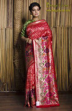 Pure Brocade Silk Banarasi Saree in Red, Gold, Green with Minakari Work