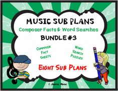 *** $5.00 ***This product is great for DISTANCE LEARNING as well as the elementary Music classroom!Overview: This product includes eight easy Music Sub Plans for 3rd-8th. Each lesson is built around students learning some facts about a composer. Each includes a word search puzzle using words from th...
