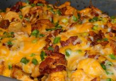 Loaded Potato and Buffalo Chicken Casserole. I should never ever make this. But it's everything I like in one dish.