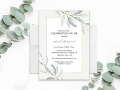 Celebration of Life Invitation, Funeral Announcement, Memorial Invitations Funeral Template A Celebration of Life Greenery Printed | Digital