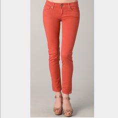 "Paige skyline ankle peg jeans Paige jeans. Orange color. Size 24. Minimal worn. Inseam 27"" Paige Jeans Jeans Ankle & Cropped"