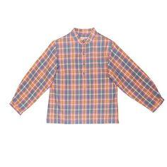 Chemise Hugo carreaux bleu et orange