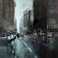 "Jeremy Mann ""New York Rains"" - 36 x 36 inches, - Oil on Linen"