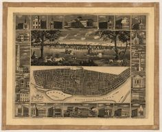 Old Map of St. Louis Missouri 1848 Saint Louis City County Poster