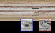 La Grande Tache rouge de Jupiter continue de rétrécir. Sur les images de janvier 2015 prises à 10 heures d'intervalle, les astronomes ont remarqué la présence d'un filament à l'intérieur de cette célèbre tempête. L'encadré à gauche nous la révèle à travers un filtre bleu et celui de droite, dans le rouge. © Nasa, Esa, GSFC, UCBerkeley, JPL-Caltech, STScI