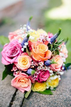 Mori Lee for a Pretty Wedding in the North West. Bright wedding bouquet.  Image…