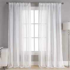 Mcbride Striped Semi-Sheer Curtain Panels  96'' L x 54'' W