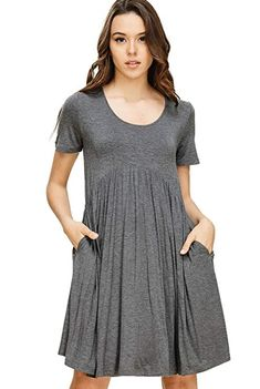 7dcea404b4ec Annabelle Women's Solid Print Scoop Neck Pleated Waist Short Sleeve Scoop  Neck Short Length Dress with Side Slanted Pockets Mid Grey Small