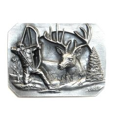 Bowhunters 3D belt buckle.  Made by Bergamot Brass Works, Darien, WI.  Solid Pewter.  Made in U.S.A. 1990  Approximately measurements of this buckle: