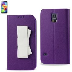 Reiko Wallet Case For Samsung Galaxy S5 Purple With White Bow
