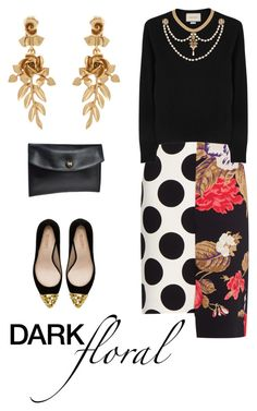 """...and a black bomber"" by bananya ❤ liked on Polyvore featuring Oscar de la Renta, Hermès, MSGM, Zara, Gucci and darkflorals"