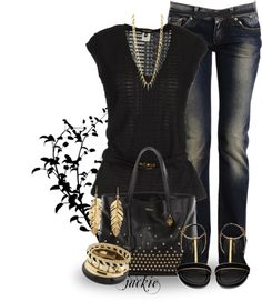"""""""Jeans with a Twist....Black and Gold"""" by jackie22 on Polyvore"""
