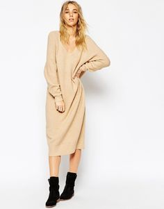 ASOS Midi Dress In Mohair With V-Neck