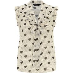 Dorothy Perkins Ivory heart ruffle front top ($39) ❤ liked on Polyvore featuring tops, blouses, shirts, blusas, camisas, white, white polka dot shirt, ivory shirt, white top and white shirt blouse
