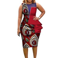 Fashion African Dresses for Women African Print Cotton Midi Dress Sleeveless Bodycon Elegant Party Clothes Brand Name: VNCY'S Item Type: Africa Clothing Special Use: Traditional Cl African Fashion Ankara, Latest African Fashion Dresses, African Print Fashion, African Women Fashion, Dress Fashion, African Blouses, African Dresses For Women, African Attire, Modern African Dresses
