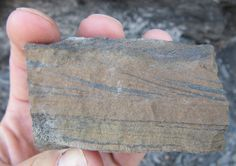 Sandstone chunk showing cross-bedding and plane laminations: