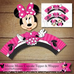 Minnie Mouse Cupcake Topper and Wrapper by ThePrintableOccasion