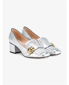 GUCCI Metallic Leather Marmont Loafers