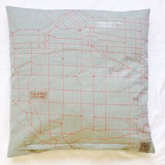 Back of Vancouver cushion. Quilted street map on cotton. #clothhouse