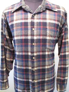 PENDLETON SHIRT Men's Size XL Blue Plaid Flannel Wool Lumberjack Hunting Buffalo #Pendleton #ButtonFront