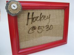 Hey, I found this really awesome Etsy listing at http://www.etsy.com/listing/167382248/red-burlap-dry-erase-board-kitchen