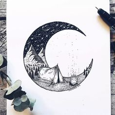 Artist Draws Millions of Tiny Dots to Calmly Ease Her Anxiety And The Results Are Amazing – Swedish illustrator Josefine Svärd creates fantastical stippling art… Doodle Art, Drawing Sketches, Art Sketches, Moon Sketches, Drawing Designs, Sketch Painting, Ink Painting, Watercolor Paintings, Stippling Art
