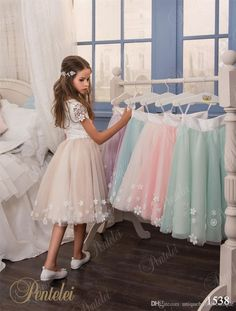 Two Pieces Flower Girls Dresses For Weddings With Cap Sleeves And Knee Length Floral Tulle & Lace Crop Top Girls Prom Gowns Custom Made Cream Flower Girl Dresses Flower Girl Dress Ivory From Uniquebridalboutique, $77.83| Dhgate.Com