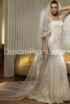 Pretty Sheath/Column Square Floor-length Court Organza Wedding Dresses (3AD0013)