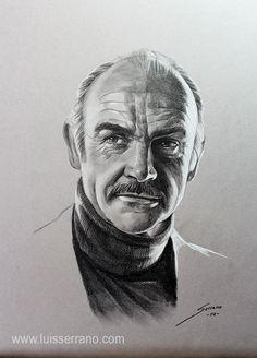 """Seguidle la pista a Luis Serrano. Una maravilla! """"Sean Connery"""", Lápiz y creta blanca sobre papel #arte #retrato"""