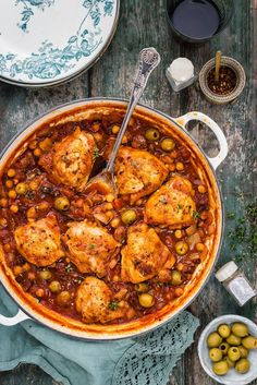 This Spanish-style chicken, chorizo, olive and chickpea stew is simply packed with flavour. Serve with rice or couscous to soak up the lovely sauce.