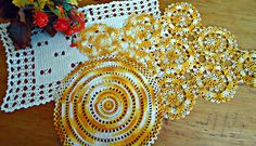 3 Crocheted Doily Large Variegated Orange Pale Yellow Crochet Doily Vintage Doilies Doilies Handmade Centerpiece B142 by treasurecoveally on Etsy