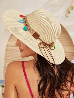 Beige Boho Plain Straw Hat Spring/Summer Hats & Gloves, size features are:Bust: ,Length: ,Sleeve Length: Sunglasses Accessories, Women's Accessories, New Fashion, Womens Fashion, Summer Hats, Boho, Women Swimsuits, Hats For Women, Spring Summer Fashion
