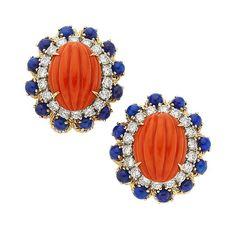 Coral, Lapis Lazuli, Diamond, Gold Earrings.