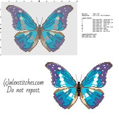 A beautiful blue and violet butterfly free cross stitch pattern download