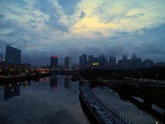 Unsettled daybreak Philadelphia PA July 2014