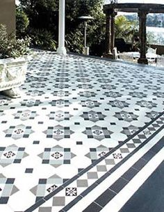 View the Gallery of Tile Trends - Tile experts, importers and distributors of quality tiles Porch Tile, Patio Tiles, Outdoor Tiles, Balcony Tiles, Victorian Tiles, Victorian Interiors, Victorian Terrace, Victorian Flooring, Tiled Hallway
