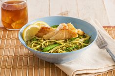 Fresh veggies, lemon and a refreshing, flavorful mint pesto make this cod pesto pasta dish perfect for the summer season.