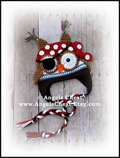 Pirate Owl - I made one similar to this and it is the cutest hat I have made so far!