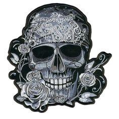 Hot Leathers Bandana Skull Patch with Rhinestones