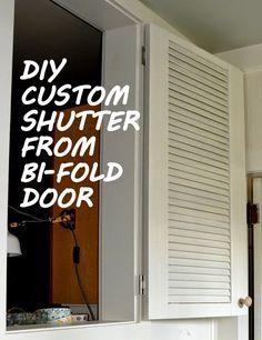 DesignDreams by Anne: DIY Shutter from Bi-Fold Door repurposed Small Small Shutters, Metal Shutters, Plastic Shutters, Indoor Shutters, Custom Shutters, Vinyl Shutters, Kitchen Window Blinds, Kitchen Shutters, Bedroom Shutters