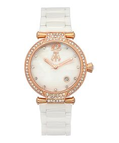 Take a look at this White & Rose Gold Rhinestone Mother-of-Pearl Bijoux Watch - Women today!