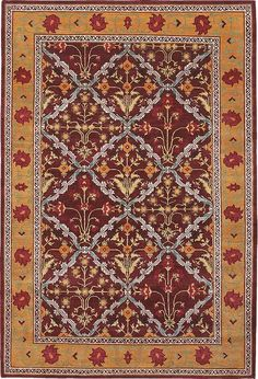 Mughal - Wine, hand-knotted pure wool carpet available at www.tigerrug.net