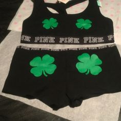 BNWT VS PINK BRALETTE & BOY SHORT SET $35 BNWT VS PINK BRALETTE & BOY SHORT SET BRALETTE is black with green shamrocks on the chest PINK LOGO written across the bottom PINK written in green at the top of the back matching boy short panties in black with green shamrocks on the butt NO TRADES NO OTHER APPS will price drop PINK Victoria's Secret Other