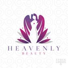 Logo Sold Beautiful heavenly women with wings emerging from a lotus flower